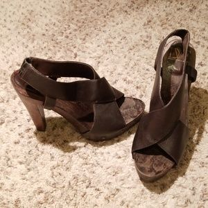 DVG Brown Leather Stained Wood Shoes/Heels Size 10